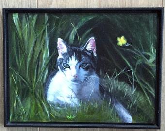 Cat picture in oil