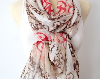 Silk Chiffon Scarf for Women Silk Scarf White and Red Scarf Women Silk Scarves for Women Floral Scarf Women Gift for Mother Summer Outdoor