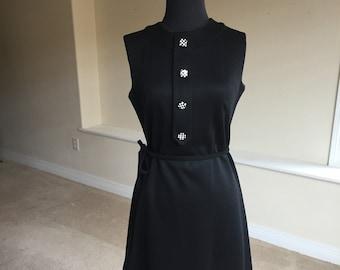 Black Knit Sheath Belted 1960 Dress