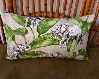 Jungalow Style Rectangle Cushion Cover, Decorator Fabric, Elephant and Green Foliage, Made in Australia, Throw Pillow, Boho, Bohemian