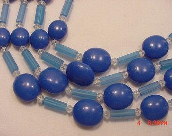 Vintage West Germany Blues Glass & Plastic Bead Adjustable Necklace   17 - 72