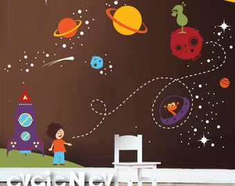 Outer Space Wall Decals, Boys Wall Decals - Wall Decals Nursery for Boys - PLOS010R - CHECK OUR SUMMER Deals!!!