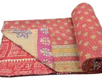 Vintage Heavy Kantha Quilt Gudri Reversible Throw Ralli Bedspread Bedding India OG91