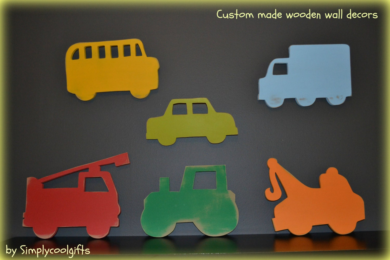 Wooden Wall Decor Set Of 6 Transportation Truck