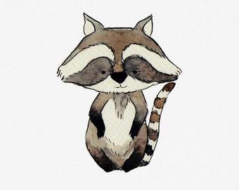 Raccoon nursery art print, baby forest animal print, woodland nursery artwork, baby raccoon, forest nursery art, woodland animal wallart