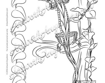 "Lizards, Turtles, and Frogs ""Lovely Lizard Tree Gecko"" Adult coloring page printable download from Artwork Anywhere ~hand drawn lizard leaf~"