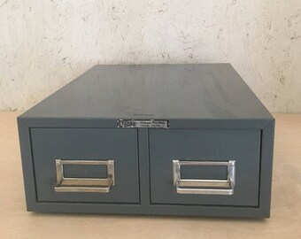 Vintage Industrial File Cabinet 2-Drawer 3x5 Storage Flash Filing