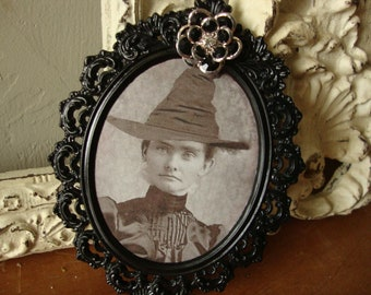 Halloween decor victorian witch photo framed table decor small black ornate metal frame