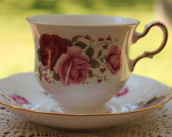 """Queen Anne Bone China Teacup and Saucer Set """"Pattern Number 8627"""""""