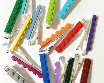 Fabriqué à partir de pinces à cravates Lego® en lumière bleu   cadeaux sous 10 cadeaux pour lui mens accessoires marié cadeau papa anniversaire bijoux en argent