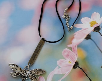 """Sale! Inspirational """"Live the Life You've Imagined"""" Silver/Black Dragonfly Necklace, Tim Holtz Pewter Word Band, Black Leather +Silver Chain"""