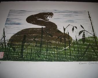 Snake Viper Habu hand carved woodblock print Japanese washi paper signed Kevin Clark