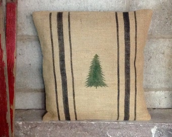 Burlap Christmas Tree Pillow Cover with Black Grain Sack Stripes by sweet janes plan
