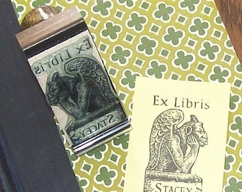 May Sale Personalized Gargoyle Ex Libris Bookplate Rubber Stamp A12