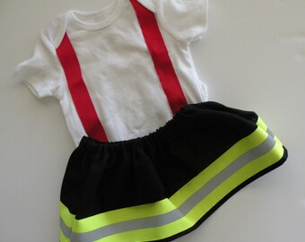 Firefighter Baby Girl WIDE Outfit BLACK skirt,RED suspenders,optional personalize shirt,baby shower gift,Halloween costume,turnout gear look