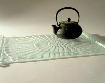 "Ammonite Fused Clear Glass Tray / Platter - 39x25cm / 15""x10"""