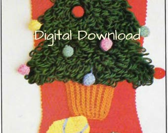 Christmas Tree Crochet Christmas Stocking Pattern, Vintage Christmas Socks, PDF Instant, Digital Download