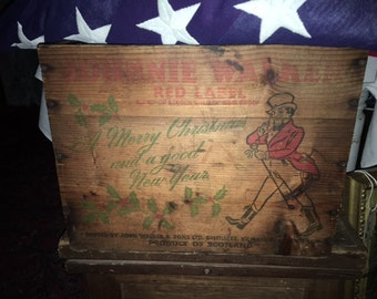 Vintage XMAS Johnnie Walker Red Label Scotch Whisky Crate, Xmas Edition, A Merry Christmas And A Good New Year