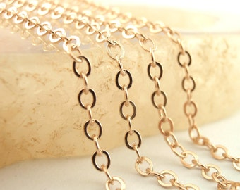 14kt Rose Gold Plated Sterling Silver Chain - By the Foot or Finished - 2.3mm Flat Oval Cable - Made in the USA