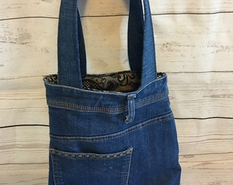 Denim Tote Bag | Recycled Denim | Upcycling Denim | Eco Friendly | Say not to landfill