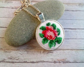Hand embroidered jewelry English teacher gift|for|her Mini embroidery hoop art pendant rose Petit point necklace Pink rose Flower necklace