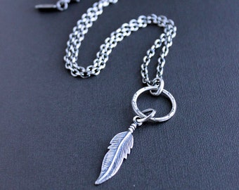 Sterling Silver Feather Pendant on Long Chain