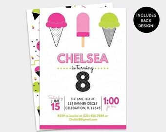 JUNE SALE Ice Cream Birthday Invitation - Modern Sweet Colorful Ice Cream Party - 80s Retro Ice Cream Social Invite - Fun Summer Birthday In