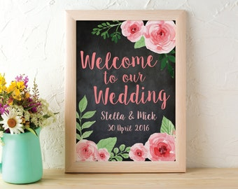 A3 Wedding Welcome Sign Printable, Floral Chalkboard Antique Flowers Guestbook Hashtag