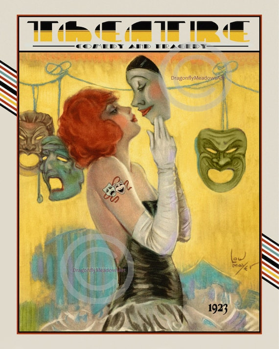 Art Deco Theatre Print Girl kissing Pierrot comedy and