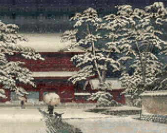 Japan Cross Stitch Chart, Kamibashi Cross Stitch Pattern PDF, Asian Cross Stitch, Kawase Hasui, Embroidery Chart