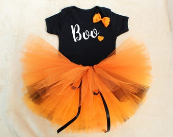 BOO Halloween Baby Girls Tutu Outfit Set Print Vest Super Full Tutu