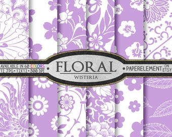 Purple Floral Pattern Digital Paper Pack - Wisteria Purple Floral Scrapbook Paper - Lilac Flower Paper Backgrounds - Digital Download