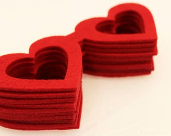 Felt crafts wool felt  Felt Heart Shaped Glasses for craft and embellishment perfect shape thick heart glasses for use any crafting red 10PC