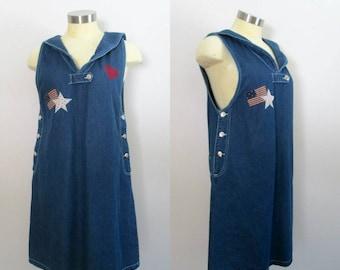 Denim Overalls Jumper Dress Sailor Collar Stars and Stripes Red White Blue