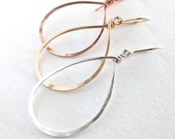 Silver Teardrop Hoops. Hand Hammered Shiny Large Sterling Silver Hoops. Droplet earrings. Boho Droplet Hoop Earrings. Girls Gift Under 50