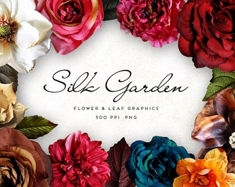 Silk Garden Flowers Digital Graphics, Print, Web, Scrapbook, Design, Personal and Commercial Use