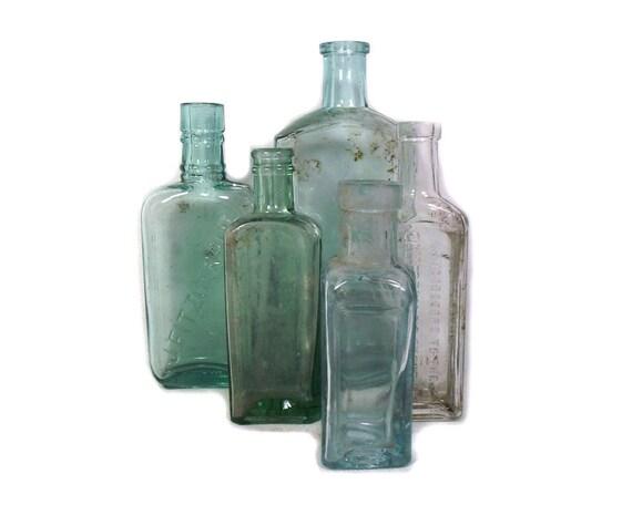 """7"""" Tall Antique & Vintage Set of 5 Glass Bottles"""