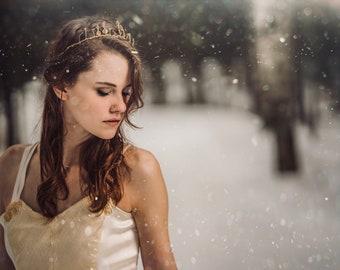 Empress Bridal Crown / Gold Tiara / Wedding Halo / Headband