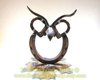 Handmade Owl Garden Art on Leaf, Horseshoe Owl from Recycled Metal,  Eco Friendly Gift, Lucky Owl. Found Art Owl