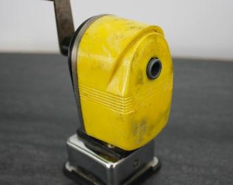 vintage APSCO Midget yellow pencil sharpener - vintage office equipment