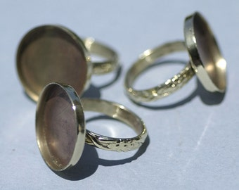 Brass Bezel Cup Ring for Resin Gluing or Setting - Size 7