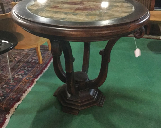Mid century Reverse Painted Top on Glass Center Table