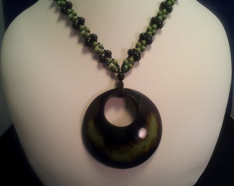 Black and Sage Beaded Necklace