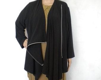 SALE wrap top cardigan black cotton jersey Asymmetrical with Zipper Designer Coat