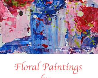 Red & Blue Abstract Flower Painting. Palette Knife Floral Art. Romantic Gift For Wife. Cottage Chic Art Decor. 262