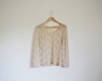 vintage 90s cream lace long sleeve top