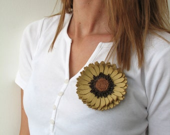 Cooper Leather Daisy flower brooch&hairpin   E211