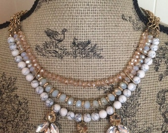 Gold/Jeweled Art Deco Statement Necklace