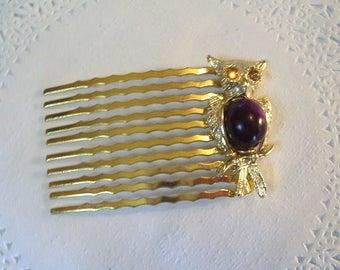 Owl Hair Comb (29) - Amethyst Hair Comb - Vintage Jewelry - Vintage Owl jewelry - Repurposed Jewelry - jeweled hair comb
