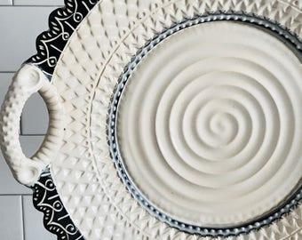 """14"""" Handmade Platter MADE TO ORDER Black and White, Ceramic Serving Platter, Pottery Platter, Decorative White Platter"""